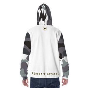 KQROWN'D APPAREL - LOGO EDITION - MEN'S MASKED HOODIE (WHITE/GRAY FATIGUE 2)