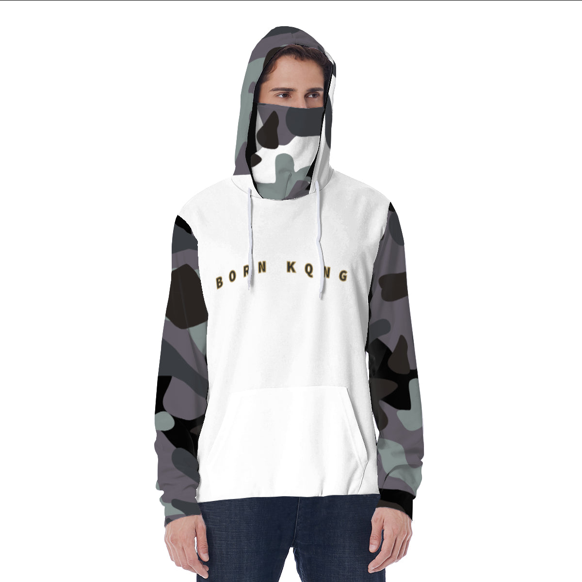 KQROWN'D APPAREL - LOGO EDITION - MEN'S MASKED HOODIE (WHITE/GRAY FATIGUE)