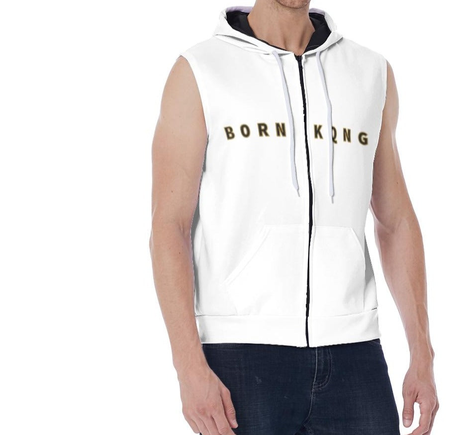 KQROWN'D APPAREL - LOGO EDITION - MEN'S SLEEVELESS HOODIE (WHITE/BLACK)