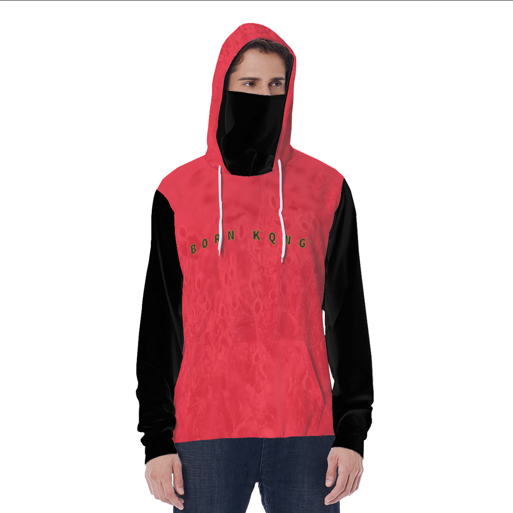 KQROWN'D APPAREL - LOGO EDITION - MEN'S HOODIE W/ BLACK MASK (RED FIELDS/BLACK)