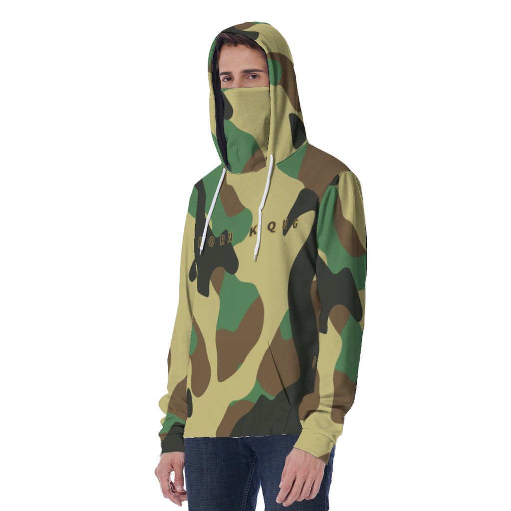 KQROWN'D APPAREL - LOGO EDITION - MEN'S MASKED HOODIE (CAMO)