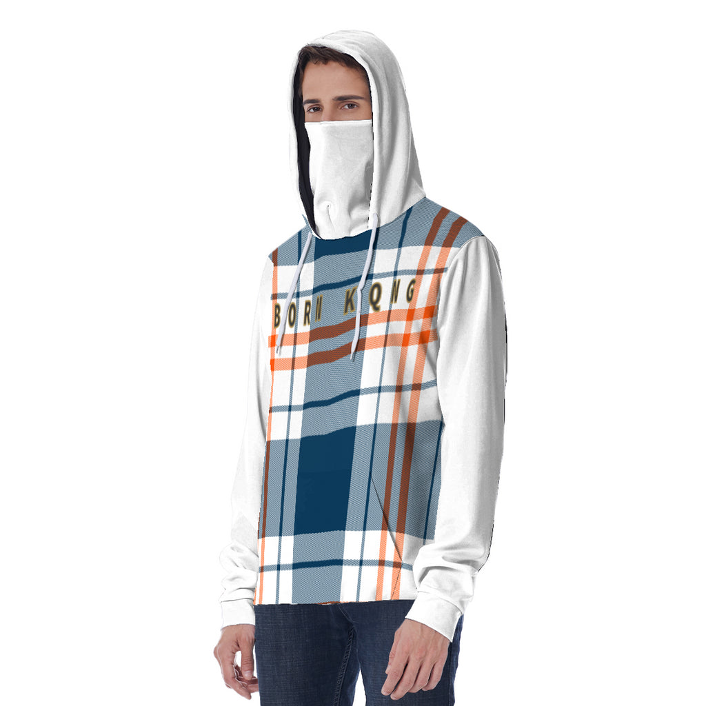 KQROWN'D APPAREL - LOGO EDITION - MEN'S HOODIE W/ MASK (BLUE PLAID/WHITE)