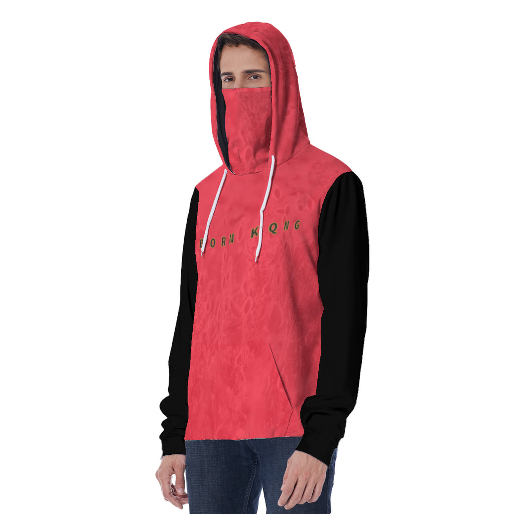 KQROWN'D APPAREL - LOGO EDITION - MEN'S HOODIE W/ MASK (RED FIELDS/BLACK)