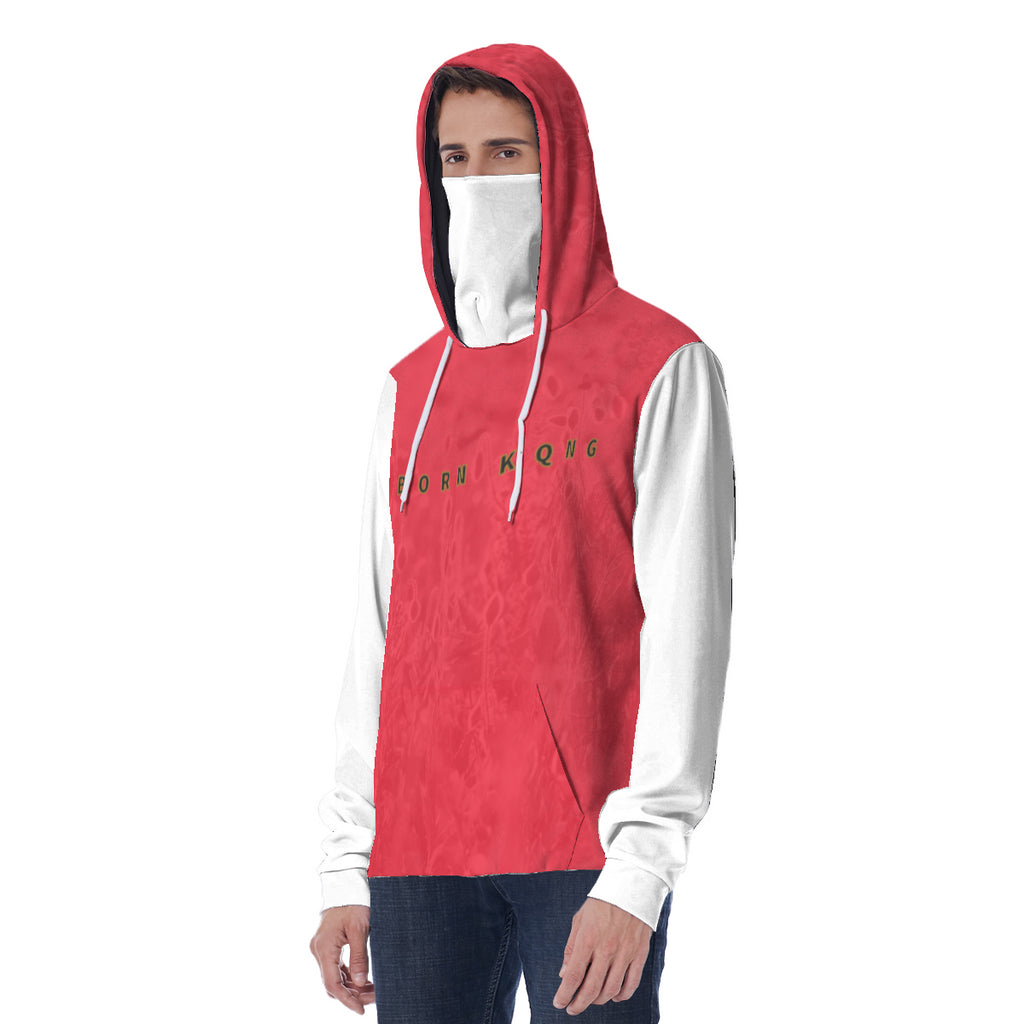 KQROWN'D APPAREL - LOGO EDITION - MEN'S HOODIE W/ WHITE MASK (RED FIELDS/WHITE)