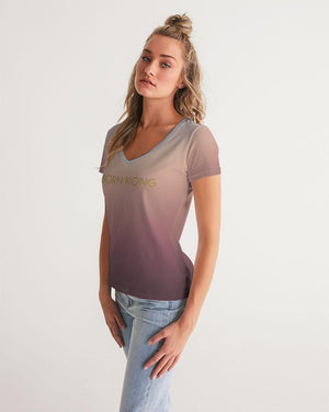 KQROWN'D Apparel - LOGO Edition Women's V-Neck Tee - KQROWN'D APPAREL