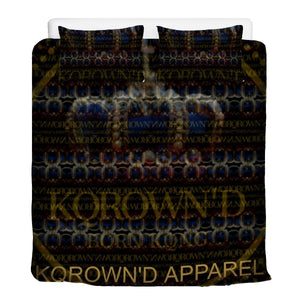 KQROWN'D APPAREL - LOGO PATTERN SLOTS Edition - 3 Pcs Beddings - KQROWN'D APPAREL