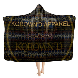 KQROWN'D APPAREL - LOGO PATTERN SLOTS Edition - Hooded Blanket - KQROWN'D APPAREL