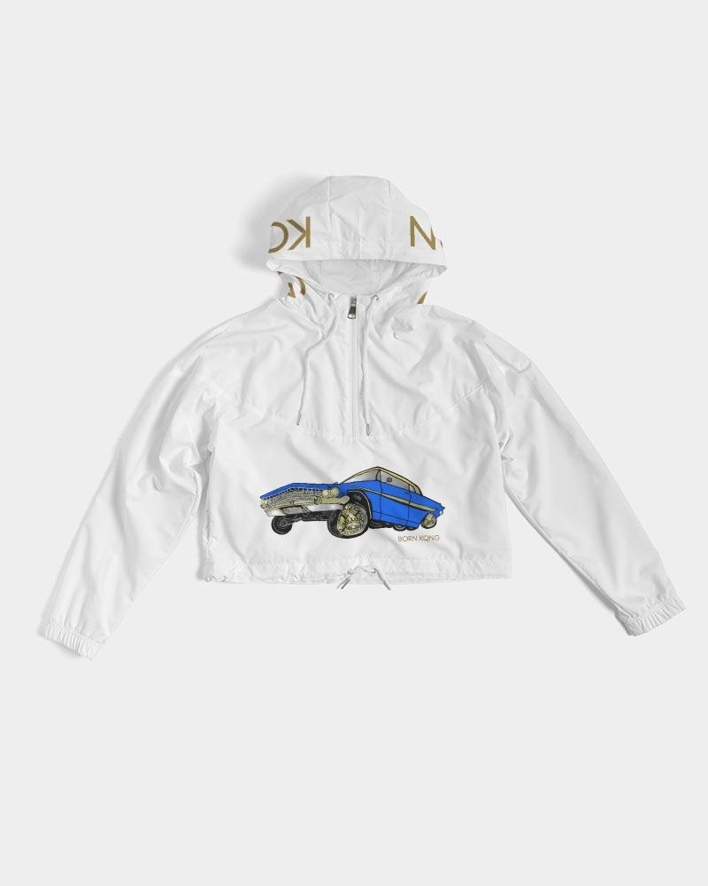 KQROWN'D APPAREL - LOWRIDER Edition Women's Cropped Windbreaker - KQROWN'D APPAREL