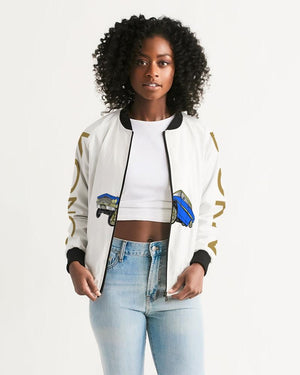 KQROWN'D Apparel - LOWRIDER w/ RIMS & KQNG PLATES Edition Women's Bomber Jacket - KQROWN'D APPAREL