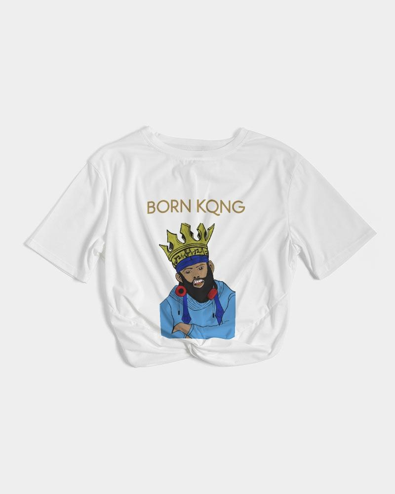 KQROWN'D KQNG with Durag and Grillz 09-01-2021 Women's Twist-Front Cropped Tee - KQROWN'D APPAREL
