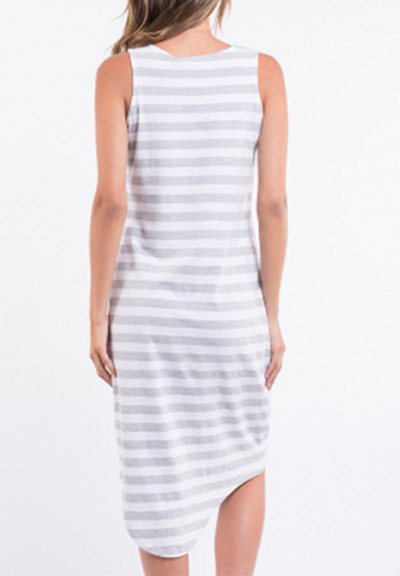 One in Eight Dress - Grey / White Stripe