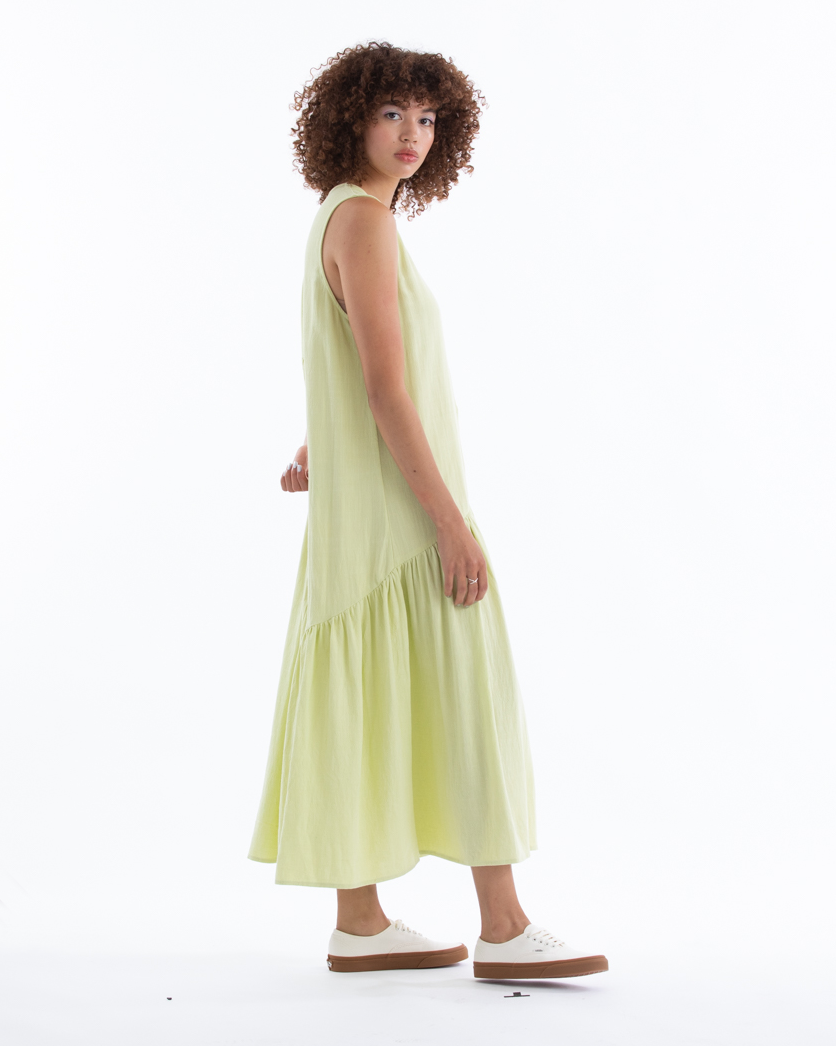 V-NECK DRESS W/ GATHERS - CITRON