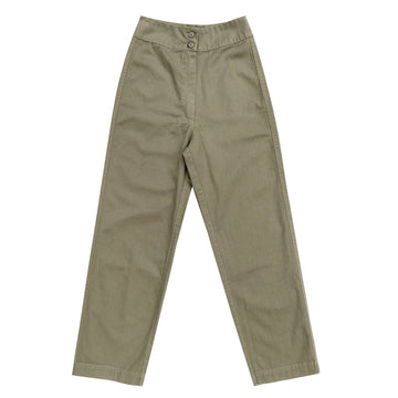 COTTON FLY FRONT PANT W/ POCKETS - KHAKI