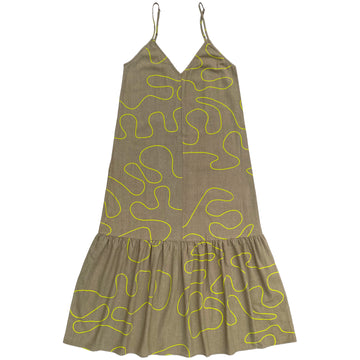 SLIP DRESS W/ RUFFLE - KHAKI SQUIGGLE
