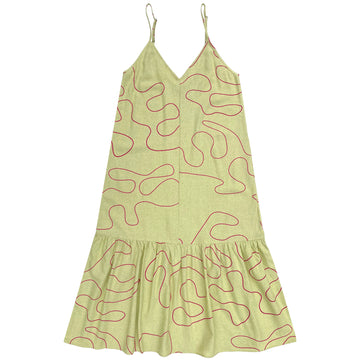 SLIP DRESS W/ RUFFLE - CITRON SQUIGGLE