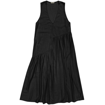 V-NECK DRESS W/ GATHERS - BLACK
