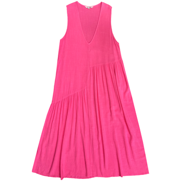 V-NECK DRESS W/ GATHERS - HOT PINK