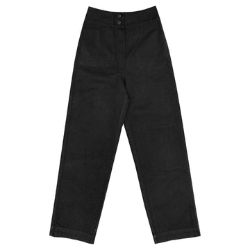 COTTON FLY FRONT PANT W/ POCKETS - BLACK