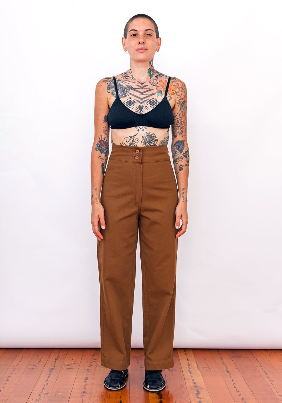COTTON FLY FRONT PANT W/ POCKETS - COPPER