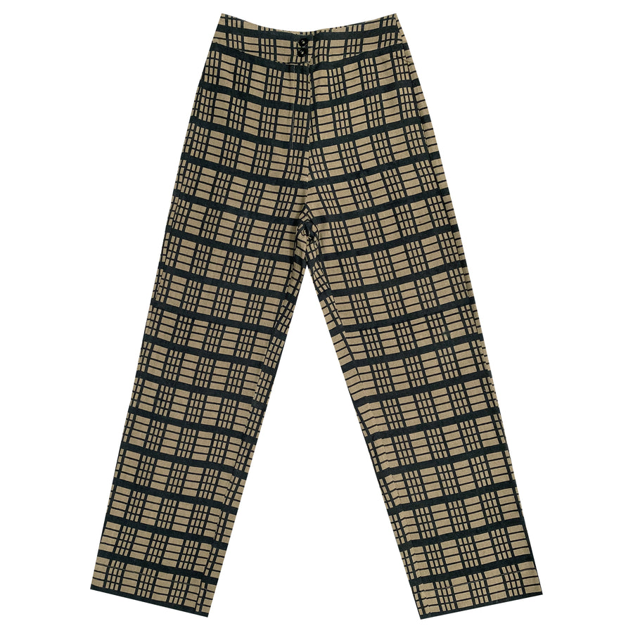 SILK FLY FRONT PANT W/ POCKETS - WINDOWPANE