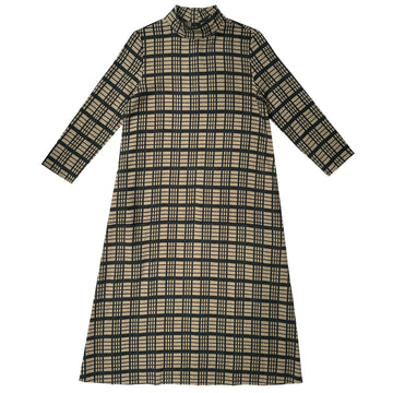 MOCK NECK DRESS - WINDOWPANE