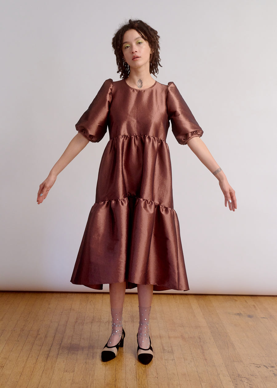 PARTY DRESS - SHINY COPPER