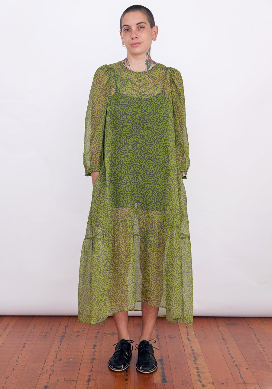 PEASANT DRESS - CHARTREUSE PRINT