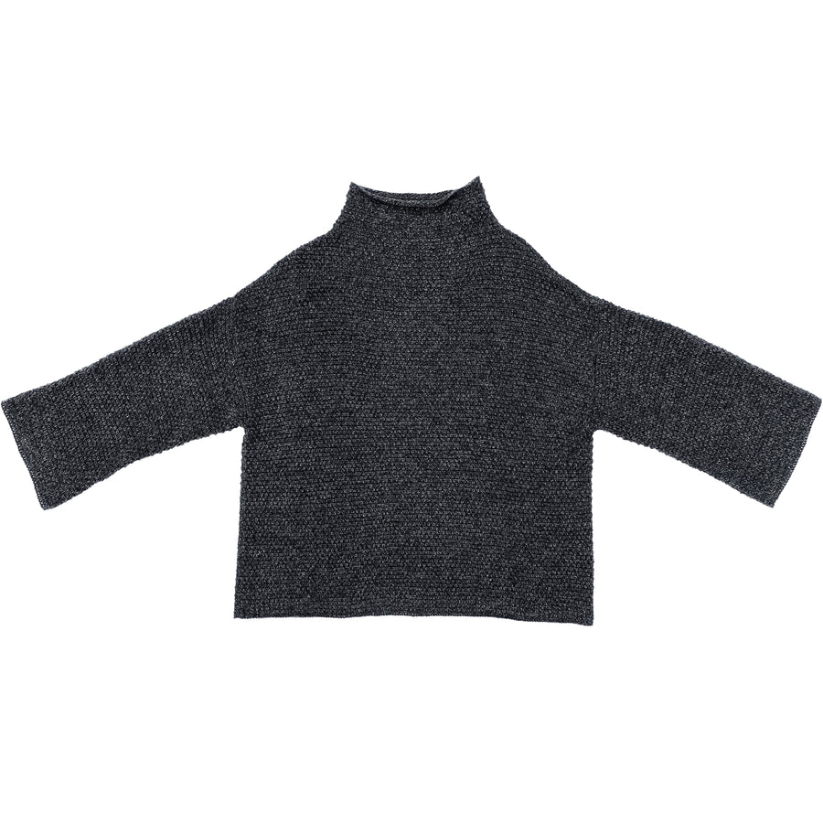 RICE STITCH MOCK TURTLENECK - CHARCOAL MELANGE