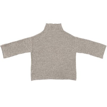 RICE STITCH MOCK TURTLENECK - NATURAL MELANGE