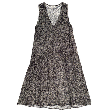 V-NECK DRESS W/ GATHERS - TAUPE PRINT
