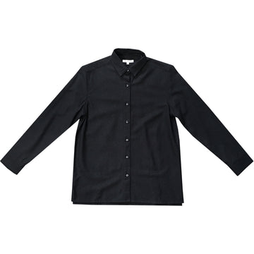 LINEN BUTTON-DOWN SHIRT - BLACK