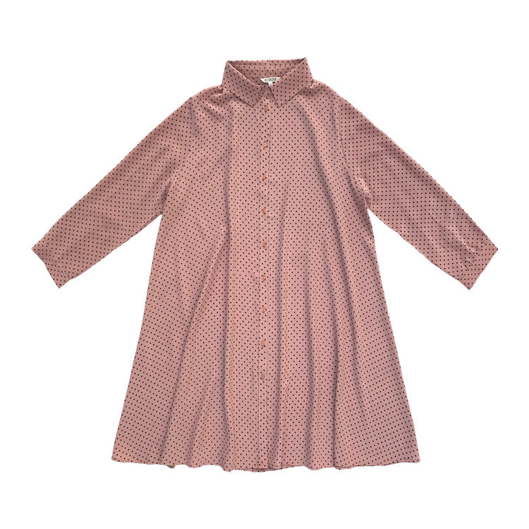 LS COLLARED DRESS - ROSE DOT