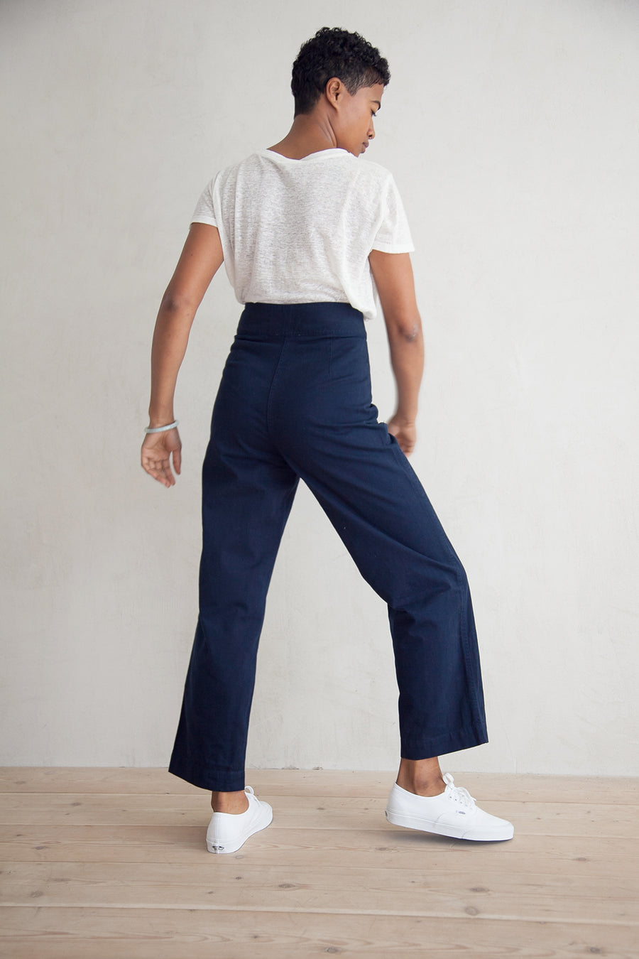 COTTON FLY FRONT PANT - NAVY
