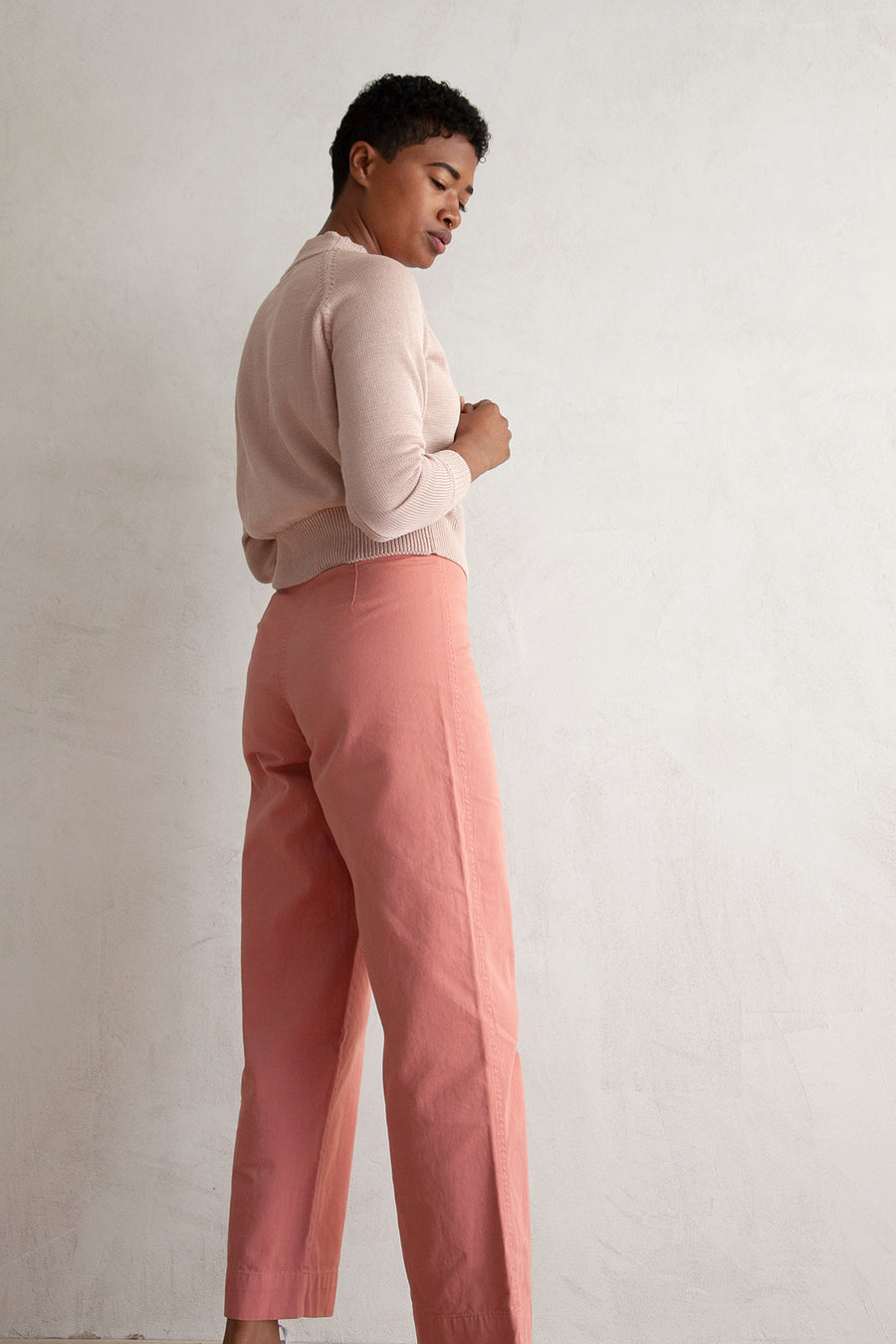 COTTON FLY FRONT PANT - SALMON