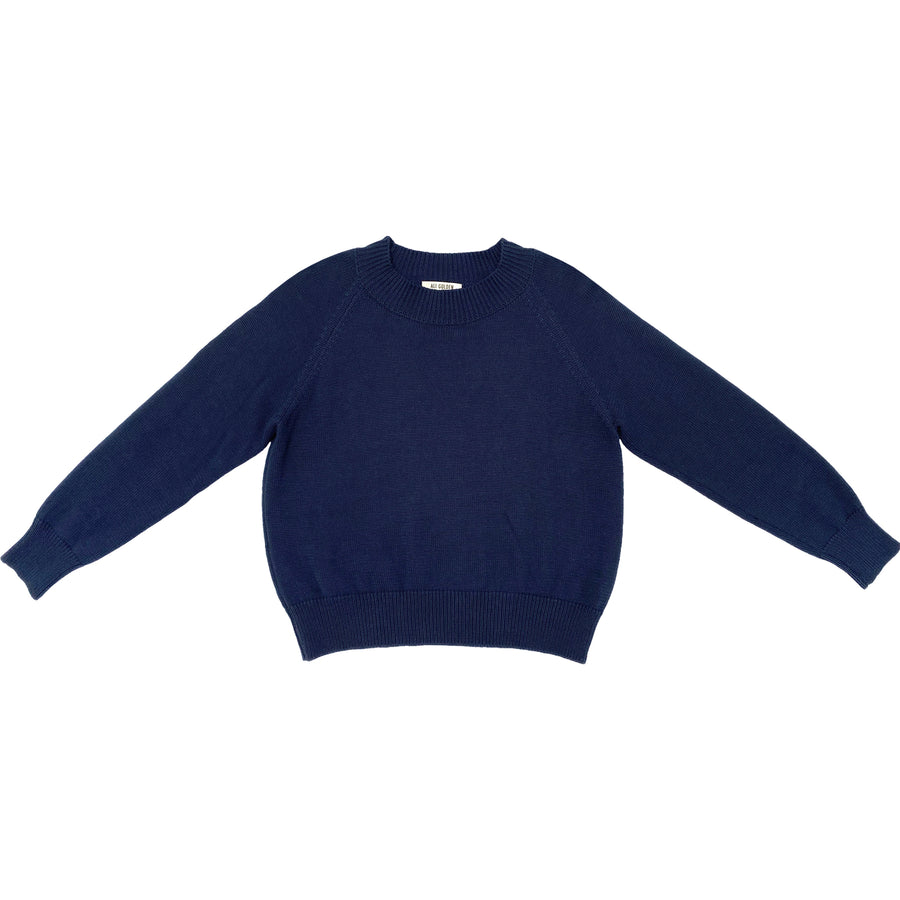 COTTON CREW NECK PULLOVER - NAVY