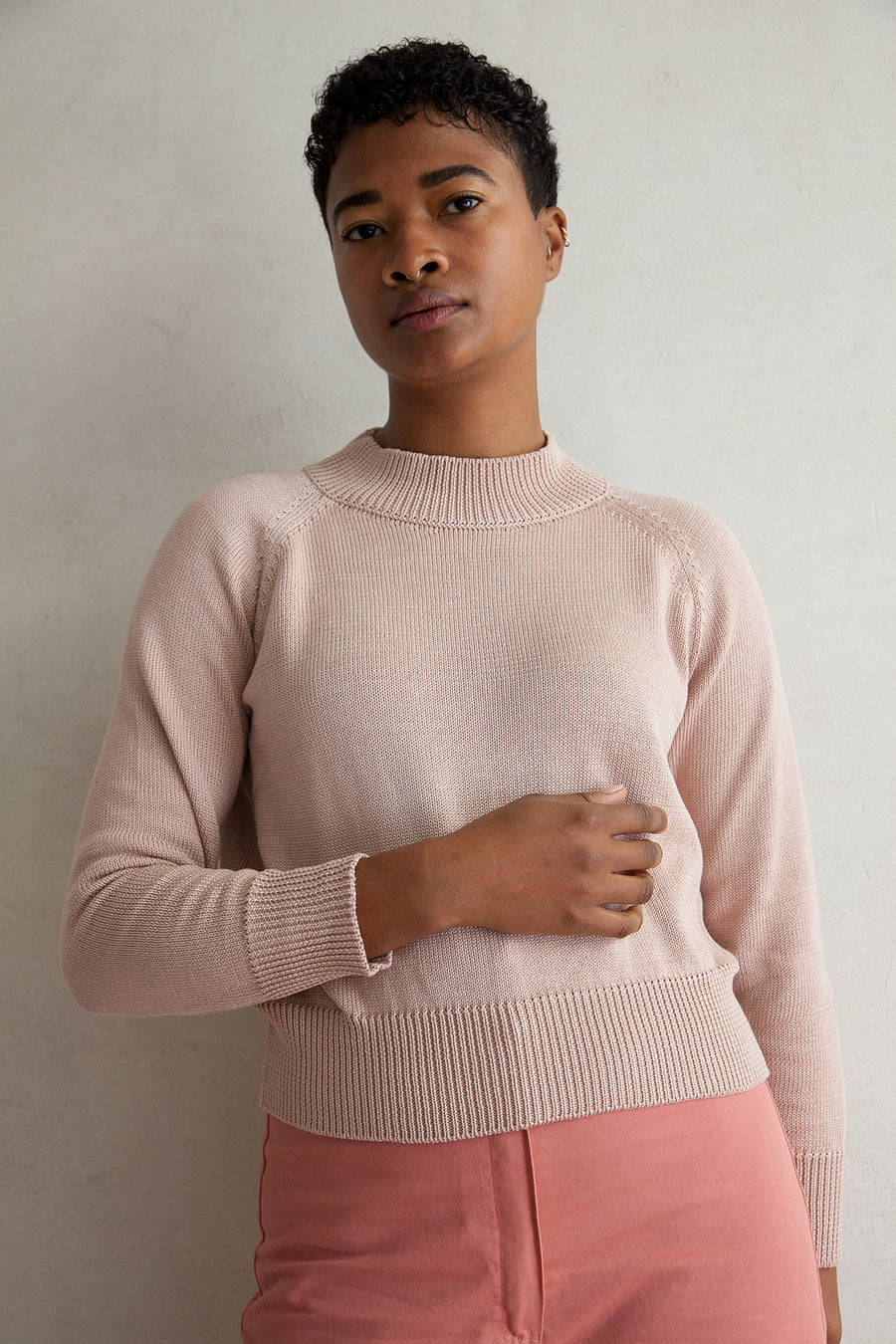 COTTON CREW NECK PULLOVER - SAND