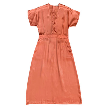 DEEP V-NECK DRESS - TERRACOTA