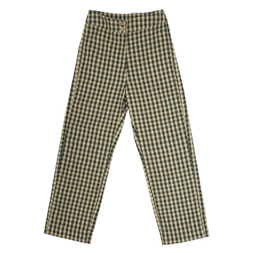 SILK FLY FRONT PANT - PEACH/HUNTER GINGHAM