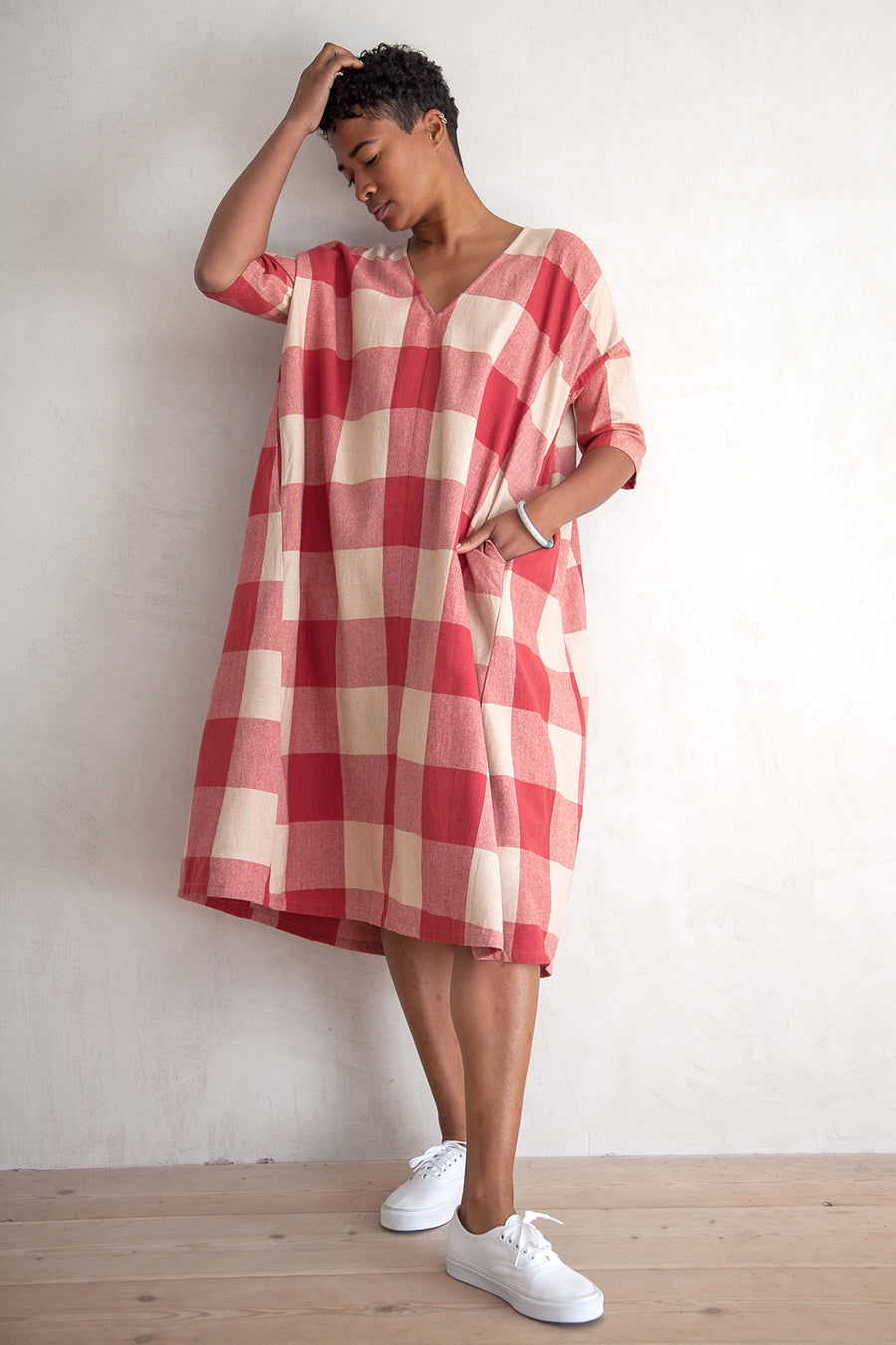 FULL DRESS W/ POCKETS - RASPBERRY GINGHAM