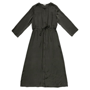LS BUTTON-DOWN MAXI DRESS - MUD