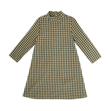MOCK NECK DRESS - PEACH/HUNTER GINGHAM