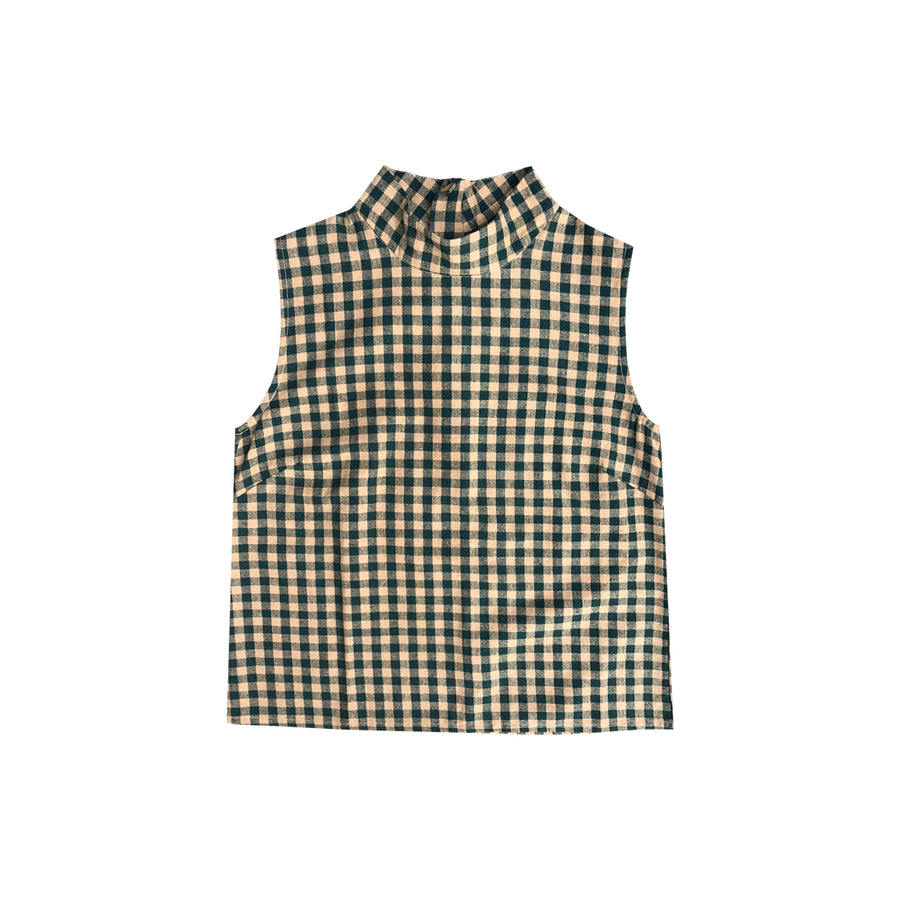 MOCK NECK TANK - PEACH/HUNTER GINGHAM