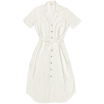 NOTCH COLLAR DRESS - BONE