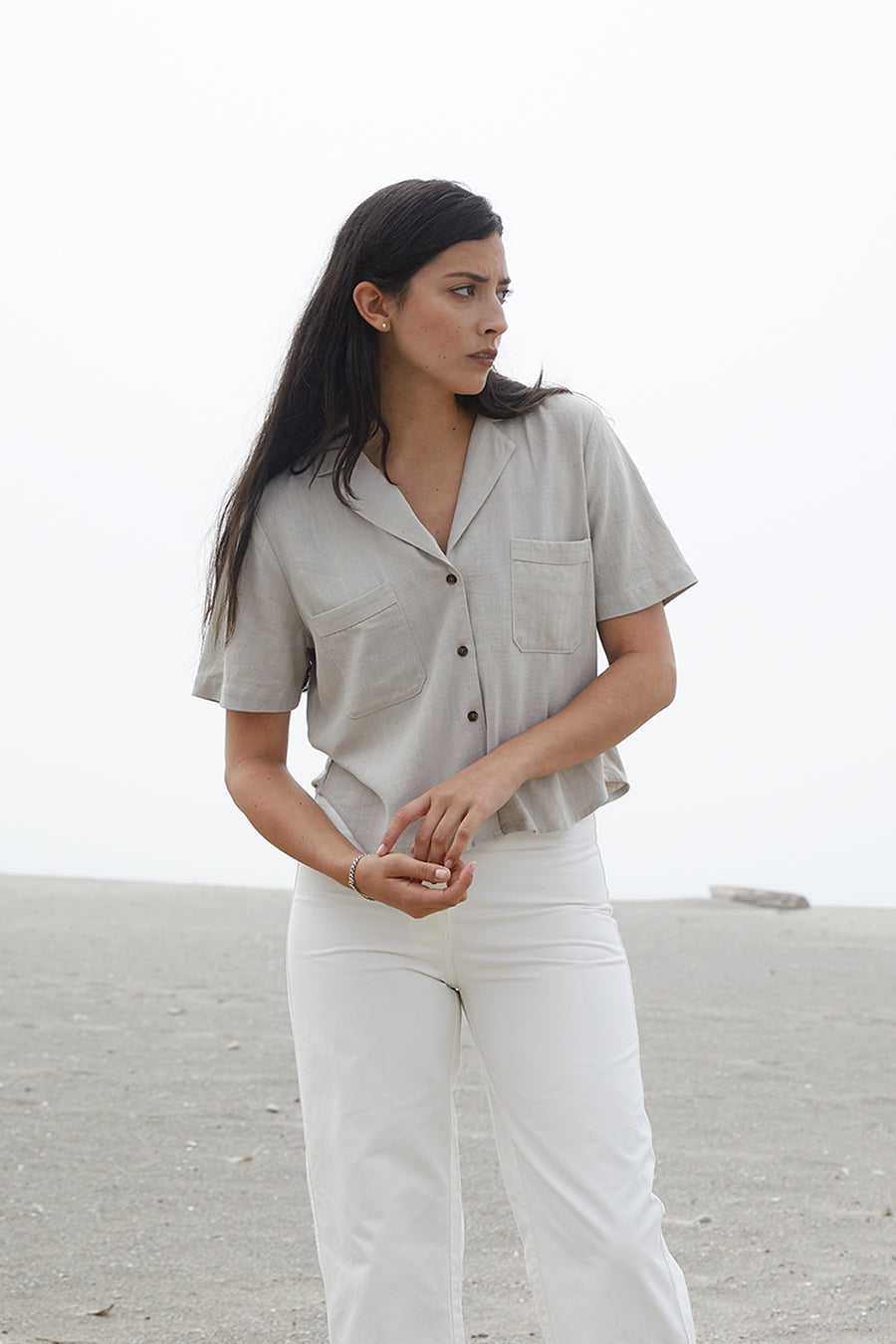 NOTCH COLLAR TOP - TAUPE