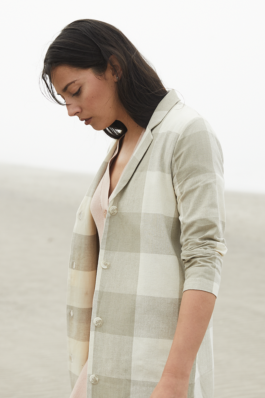 NOTCH DUSTER - NATURAL GINGHAM