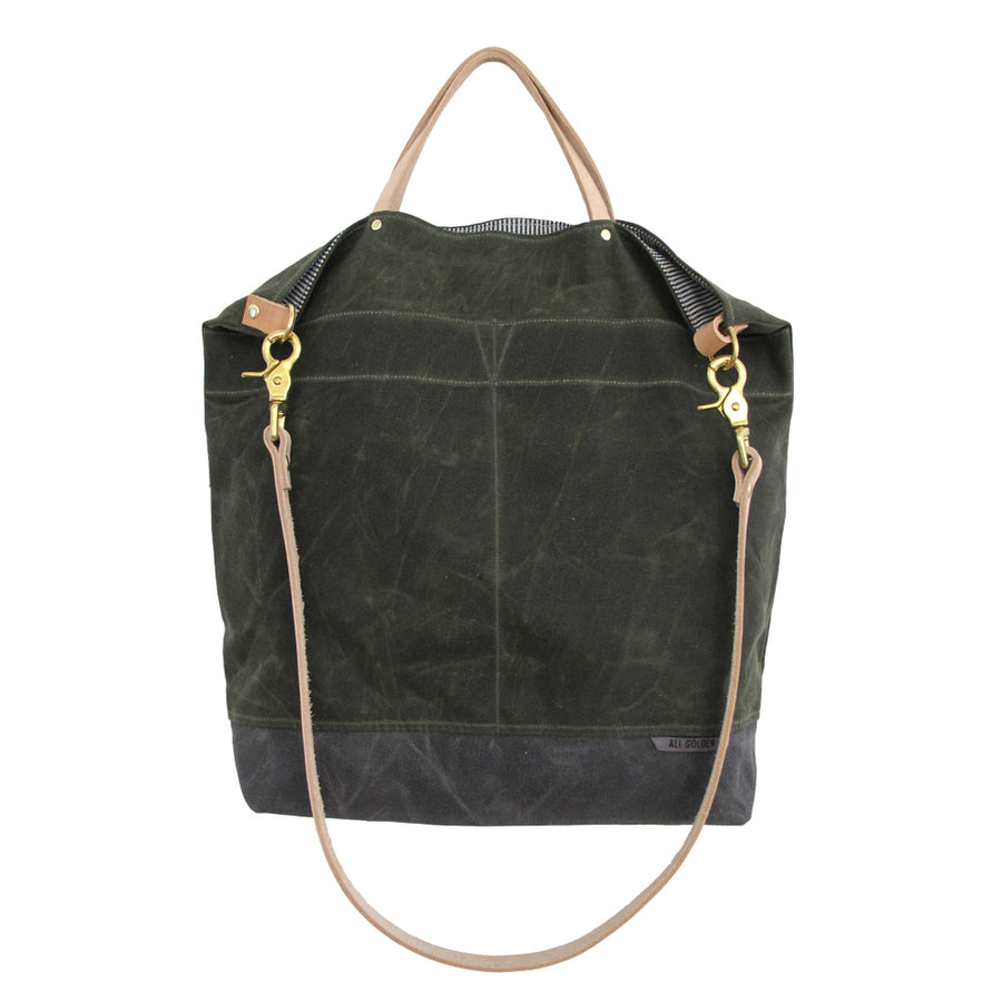 OLIVE REVERSIBLE BAG (NATURAL STRAP)