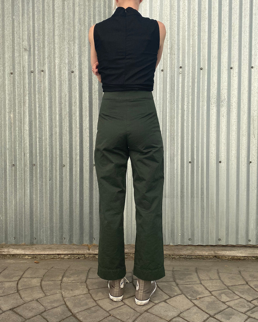 COTTON FLY FRONT PANT - HUNTER