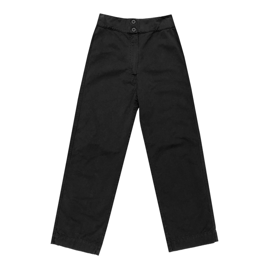 COTTON FLY FRONT PANT - BLACK