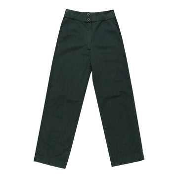cotton wide leg fly front pant hunter green