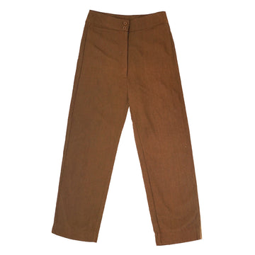 SILK FLY FRONT PANT - COPPER